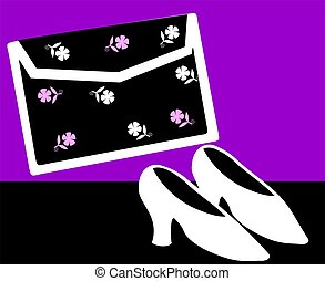 Foot wear - Illustration of ladies foot wear and bag in...