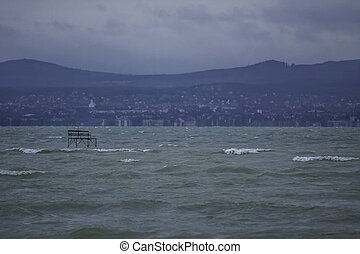 Balaton - view of the lake Balaton on a windy day