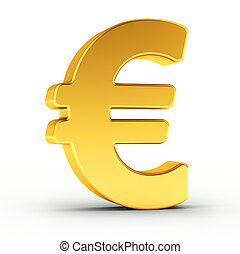 The Euro symbol as a polished golden object with clipping path