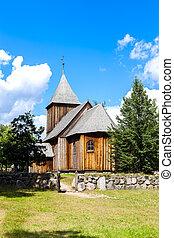 wooden church, Kaszubski ethnographic park in Wdzydzki Park...