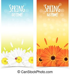 Spring flowers composition - Bright spring banners design...