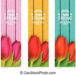 Tulip flowers composition - Bright spring banners design...