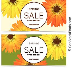 Flowers and frame for text - Bright spring sale design...