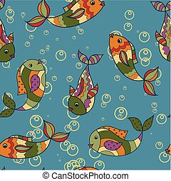 Colorful pattern with fish retro - Vector colorful pattern...