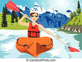 Girl with paddle and kayak on a small river - Girl with...
