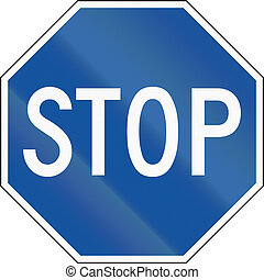 United States regulatory road sign - Alternative blue stop...