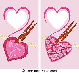 Heart on the clothespin. Vector illustration