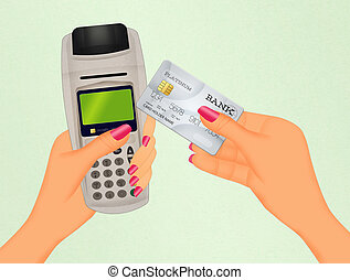 Payment by credit card - illustration of payment by credit...