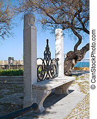 Characteristic garden seat in the Public park of Trani. Apulia.