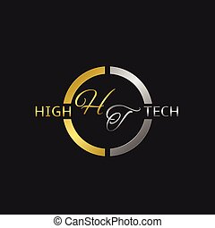 High Tech label - High Tech metal label with golden and...