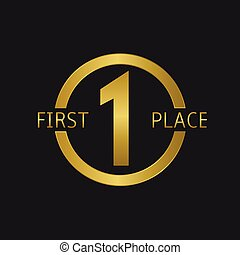 First Place symbol, Number one Golden label
