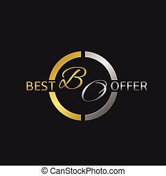 Best offer label - Best offer metal label with golden and...