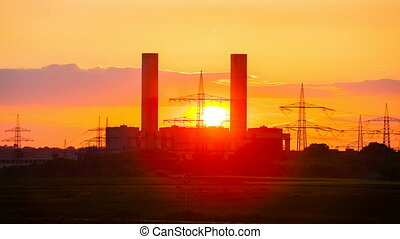 Power Station Sunset Timelapse zoom - Zooming time lapse...