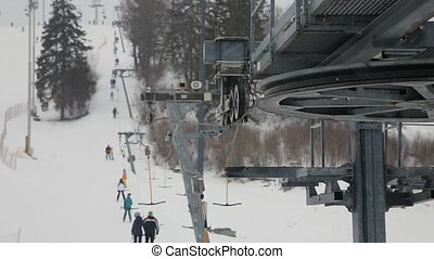 mechanism of the ski lift - perspective detail ski lift...