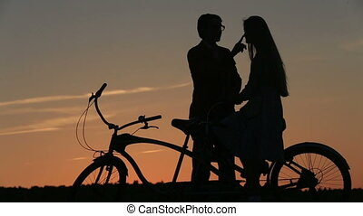 Silhouette of Beautiful Couple. He Softly Strokes Her Hair...