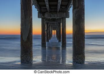 Under The Boardwalk - Sunrise Under The Pier In St....