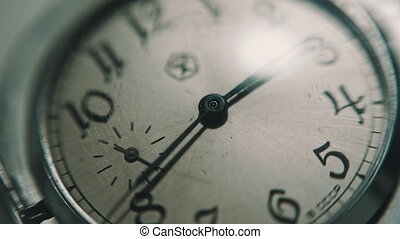 Vintage old clock face dial, close-up shot, soft focus, full...