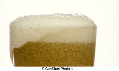 Glass of beer close-up with froth - Glass of beer with froth...