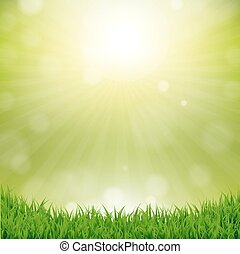 Grass Border With Nature Background With Gradient Mesh,...