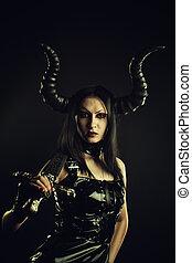 Infernal warrior - Horned gothic girl in black latex dress...
