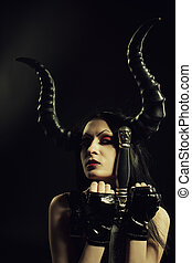 Warrior of Darkness - Horned beautiful young girl with sword...