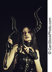 Beauty and dangerous - Seductive horned succubus with lash...