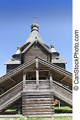 ancient wooden church. Russia