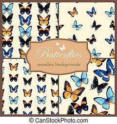 Butterflies seamless set - Set of colorful butterflies...
