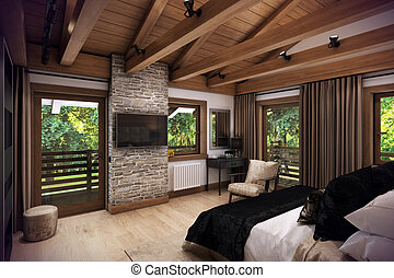 3D rendering bedroom house in the mountain - 3D rendering...