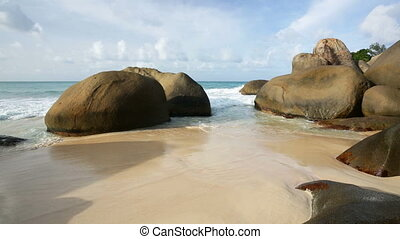 Mahe Beach And Boulders, Seychelles - Beautiful beach with...