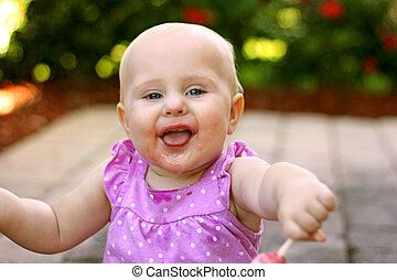 Super Happy Messy Face Baby Girl Outside - A super happy 10...