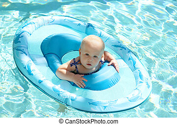Pretty Baby Girl Swimming in Pool in Boat - A pretty 10...
