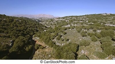 4K Aerial, flight along a riverbed, Andalusia, Spain - These...