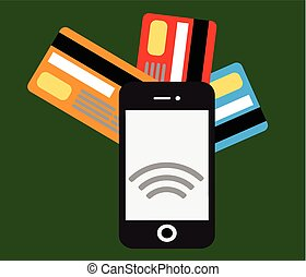 Mobile payments and communicationFlat design style vector...