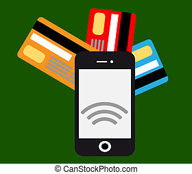 Mobile payments and communication.Flat design style vector...