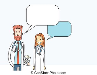 Medial Doctors Man Woman With Copy Space Chat Box Vector...