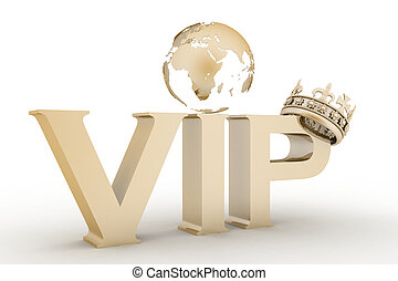 VIP abbreviation with a crown 3D text