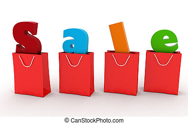 Red shopping bags with the inscription Sale inside, concept...