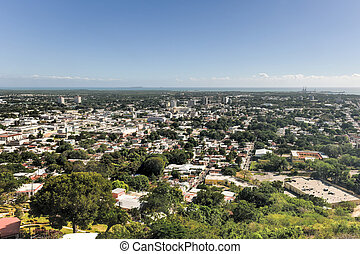 Ponce, Puerto Rico - Aerial view of the city of Ponce,...