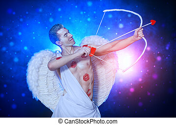 immaculate shot - Male angel Cupid with a bow and arrows of...