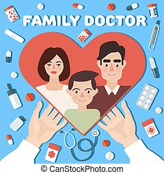 Family Doctor Concept Banner. Hands with Heart