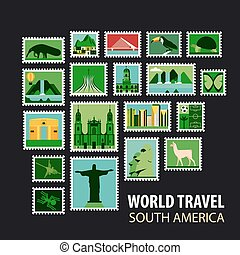 World Travel. Icons set. - South America. Stamps with...