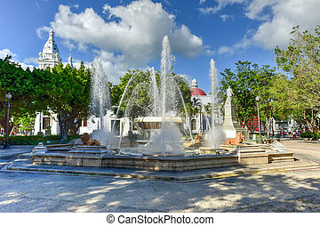 Plaza Las Delicias - Ponce, Puerto Rico - Lion Fountain in...