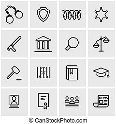 Vector line justice icon set Justice Icon Object, Justice...