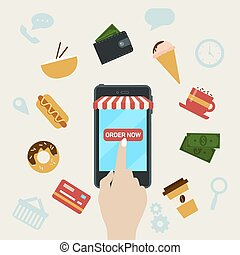 Ordering Fast Food Online by Smart Phone. Vector...