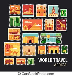 World Travel. Icons set. - World Travel, Africa. Icons set....