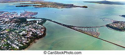 Aerial view of Waitemata Harbour - AUCKLAND - JAN 31...