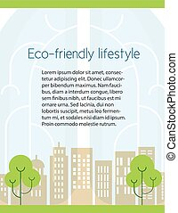 Ecology flyer design  - Green technology A4 vector pamphlet.