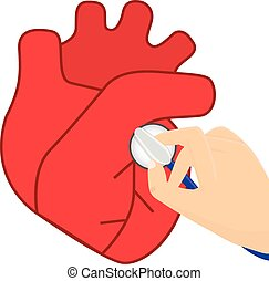 Heart auscultation vector illustrat - Doctor with...