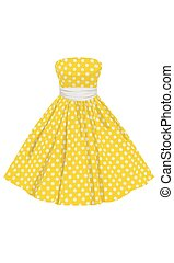 Vector yellow dress with white polka dots with a white belt